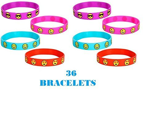 (36) EMOJI Silicon BRACELETS ~ 7.75'' Emoticon Silicon Party Favors ~Teacher Prize ~ Secret Santa ~ Giveaway ~ Birthday Goody Bag Fillers ~ Fair Prize ~ Toy