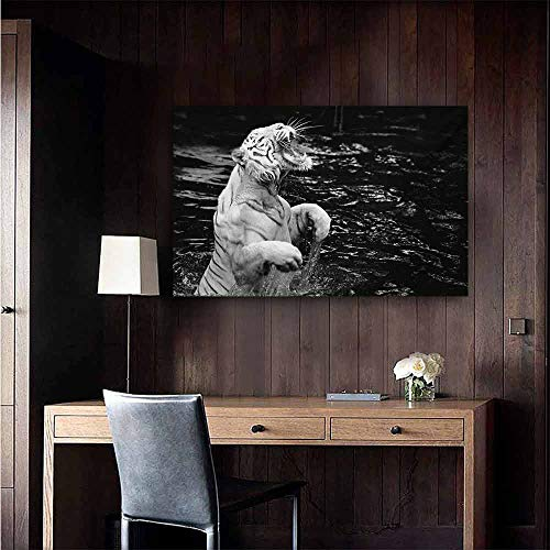 (duommhome Safari Abstract Painting White Tiger Wintertime Rare Animal Portrait Eyes Wildlife Environment Natural Art 24
