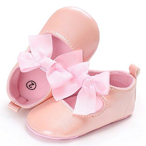 junlong New Born Baby Girl Solid rutschfeste Schuhe Pink Weiß Rot Schleife Schuhe (0