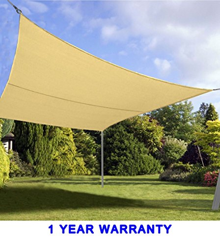 Retractable Awnings Home Depot (Quictent 24 x 24 ft 185G HDPE Square Sun Sail Shade Canopy UV Block Top Outdoor Cover Patio Garden Sand)