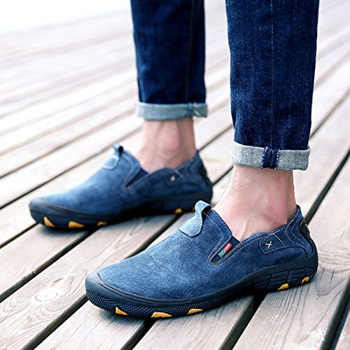 Blue Leisure Elastic Mens Walking TDA Hiking Leather Outdoor Sneakers qU8zHwv