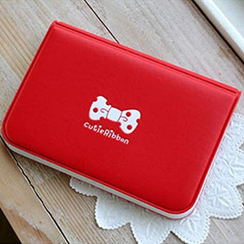 (GoldLock Women Cartoon Bow Ribbon Bowknot 12 Position Card Case Credit ID Bank Card Bus Card Bag Card Holder Pack Protector Ladies (Red))