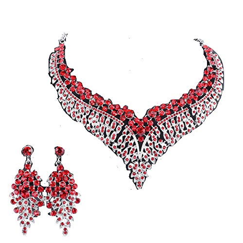 Women Bridal Rhinestone Crystal Statement Necklace Earring Wedding Dress Jewelry Sets (Silver Red)