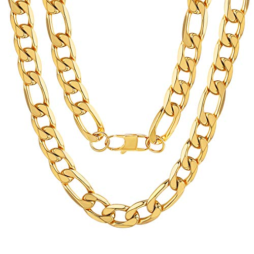 Thick Gold Chains 13MM Figaro Cuban Chain Necklace Men 18K Gold Filled Long Chains Golden ()