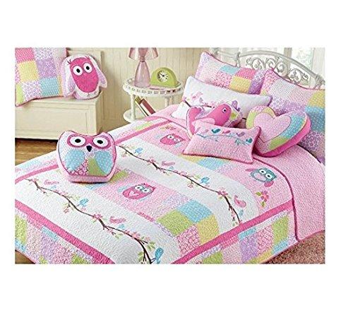 Pink Owl 3-piece Quilt Bedding Set, FULL OR QUEEN, Great For Girls Bedroom. 100% Cotton! (Queen)