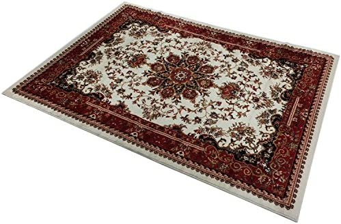 RugStylesOnline Nevita Collection Isfahan Persian Traditional Design Area Rug Off-White Red Also Available in Red, Beige Blue, Black, Navy Colors Off-White Red, 7 10 x 9 10