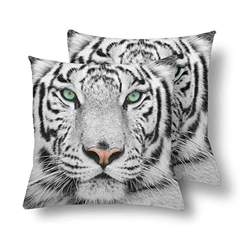 Lxmn White Tiger Throw Pillow Covers 18×18 Set of 2, Pillow Cushion Cases Pillowcase for Home Couch Sofa Bedding Decorative