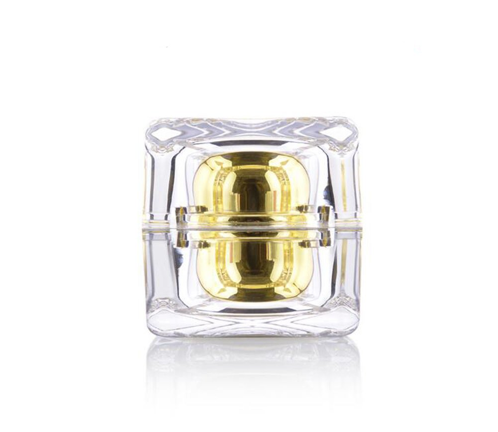 30g 2PCS Refillable Gold Acrylic Crystal Cream Jars Empty Cosmetic Make Up Face Cream Lip Balm Eye Shadow Toners Storage Container Pot Bottle With Lids for Women and Girls