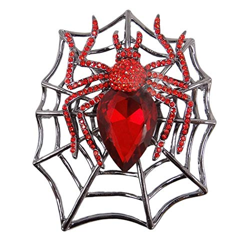 EVER FAITH Rhinestone Crystals Halloween Spider Web Teardrop Brooch Pendant Red Black-Tone