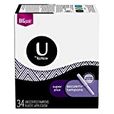 U by Kotex Security Tampons, Super Plus Absorbency, Unscented, 34 Count (6 Packages)