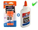Elmer's bundle Washable Liquid School Glue, White, Dries Clear, 4 fl oz Plus Disappearing Purple Elmer's School Glue Stick, 6g, 2pk