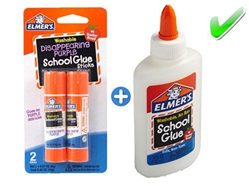(Elmer's bundle Washable Liquid School Glue, White, Dries Clear, 4 fl oz Plus Disappearing Purple Elmer's School Glue Stick, 6g, 2pk)