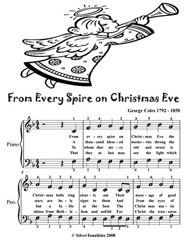 From Every Spire On Christmas Eve  Easy Piano Sheet Music Tadpole Edition -