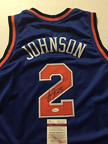 Autographed/Signed Larry Johnson New York Knicks Blue Basketball Jersey JSA COA