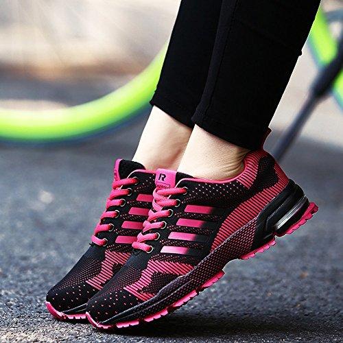 Ausom Menns Kvinners Uformelle Mote Elskere Sneskers Sport Utendørs Jogging Går Joggesko Rose Rød