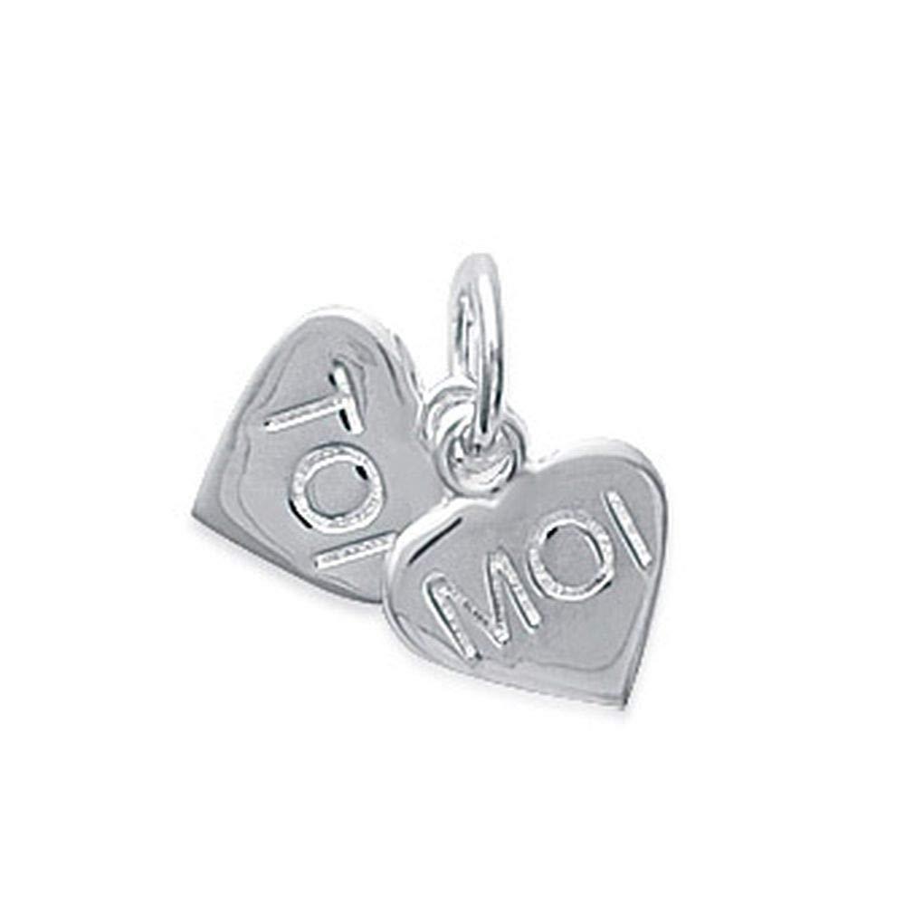 Obrillant-Bijoux Pendentif en Argent Massif 925//1000 rhodi/é Deux Coeurs Message Toi et Moi