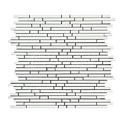 Thassos White Greek Marble Bamboo Sticks (Single color) Mosaic Tile, Honed