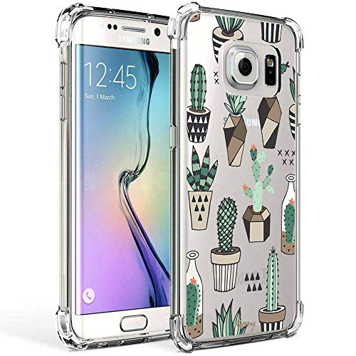 Galaxy S7 Edge Case Clear with Design Cactus Floral Pattern Bumper Protective Shockproof Cell Phone Case for Samsung Galaxy S7 Edge 5.5 Inch Flexible Silicone Cacti Flowers Back Cover for Women Girls