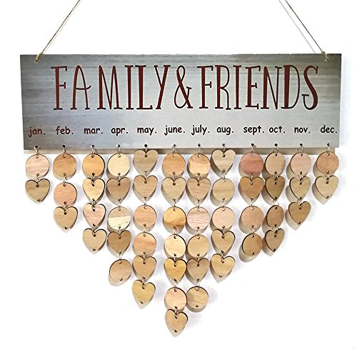 Family Friends Birthday Calendar DIY Wood Crafts Wall Hanging Plaque Board Reminder Special Dates Planner Calendar Home Decor Gift