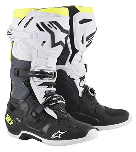 Tech 10 Off-Road Motocross Boot (11 US, Black White Yellow Fluo)