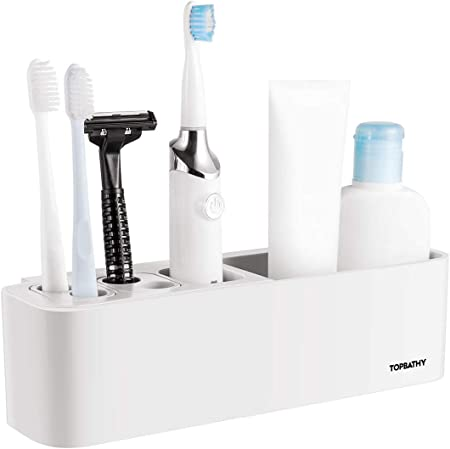 Bathroom Wall Mount 6-Toothbrush Spin Brushes Suction Stable Holder Rack Plastic