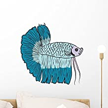 Betta Fish or Siamese Wall Decal by Wallmonkeys Peel and Stick Graphic (18 in W x 18 in H) WM314512