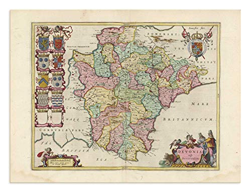 - The Blaeu Prints | Devon, England - Historical Map Print from Antique Atlas by Joan Blaeu - Old Map Shows: Plymouth, Exeter, Torquay
