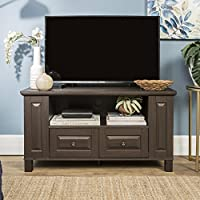 New 44 Inch Wide Textured Espresso Brown Finish Television Stand with Drawers