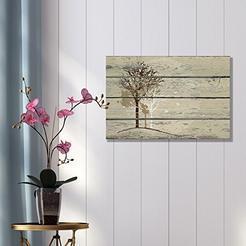 Abstract Trees on Vintage Wood Background