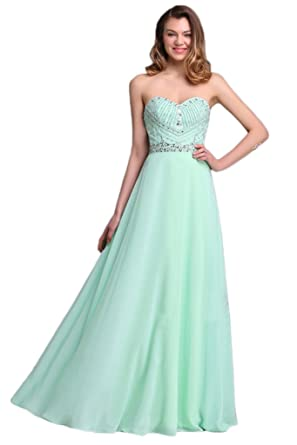 Avril Dress Simple Strapless Sweetheart Wedding Party Prom Long Chiffon Gown-3XL-light Green