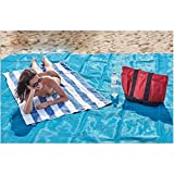 TECHSON Sand Free Beach Mat, Big Size Lightweight Magic Sand-less Blanket, Dust Prevention Beach Accessories (Blue)