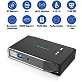 Projector,Mini Projector,DLP Full HD Wireless Screen Share for iPhone iPad Android,Video Projector, 3D Support-HDMI-Bluetooth-2USB-Wi Fi-1080P-TF Card-AV Auto Keystone Correction,Portable Projector.