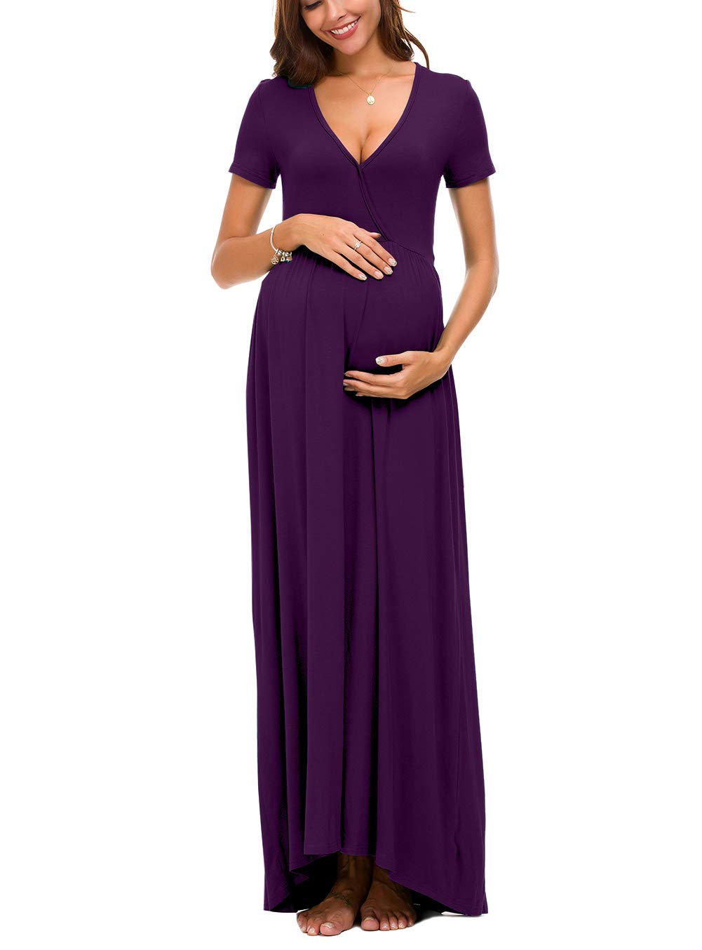 Octohol Women's Faux Wrap Maternity Dress V-Neck Casual Long Maxi Dress(Purple X-Large)