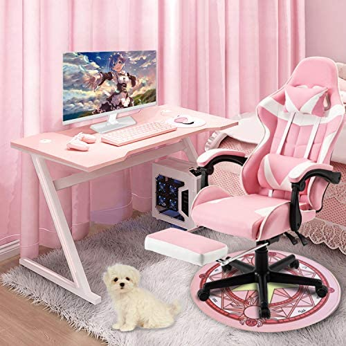 Soontrans Pink Recliner Computer Chair Lovely Deak Chair for Granddaughter,Girlfriend,Sister,Wife and Love with Headrest Lumbar Support Footrest Office Chair,Ergonomic Gaming Chair Gift (Pink)