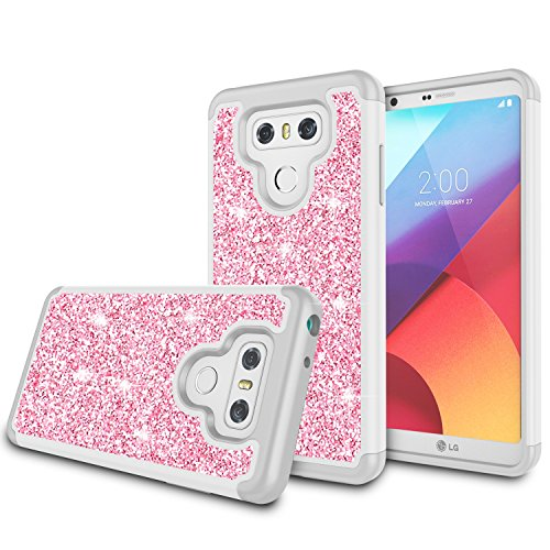LG G6 Case, LG G6 Plus Case, Zectoo Shinning Bling Glitter Girls Women Dual Layer TPU + Hard PC Shock Absorbing Hybrid Defender Protective Shell Case Cover for LG G6 LG G6 H871 H782 US997 VS988 - Pink