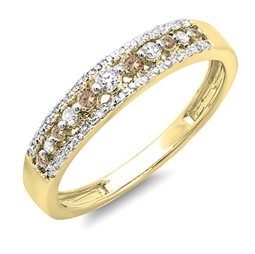 Dazzlingrock Collection 0.25 Carat (ctw) 14K Round Champagne & White Diamond Wedding Band Ring 1/4 CT, Yellow Gold, Size 8.5 ()