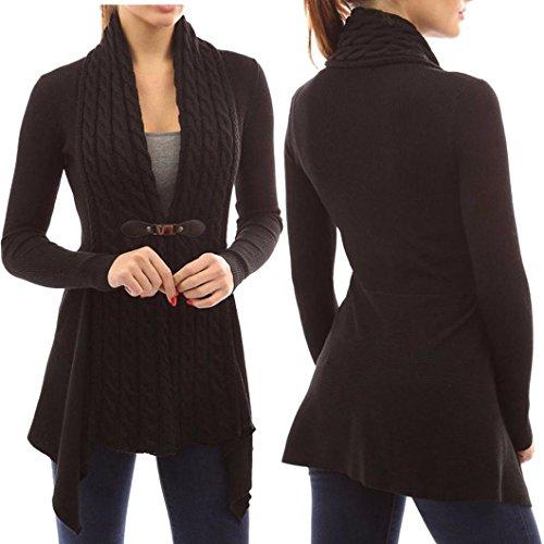 Clearance! Elogoog Women Casual Sweater Tops Irregular Long Knitted Cardigan Outwear (L, (Drawstring Wool Sweater)