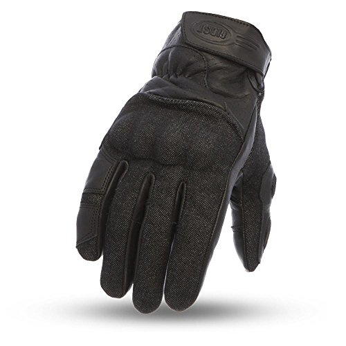 First Mfg Co Men's Hutch Leather Motorcycle Touch Tech Finger Gloves (Black, ()