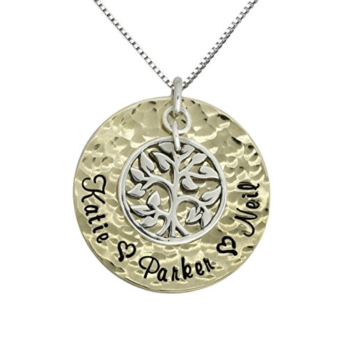 My Pride And Joy Personalized Name Necklace with 1 Inch 14k Gold Plated Disc Customized With Names Hammered Pendant Hung With Sterling Silver Tree Charm. Choice of Sterling Silver Chain