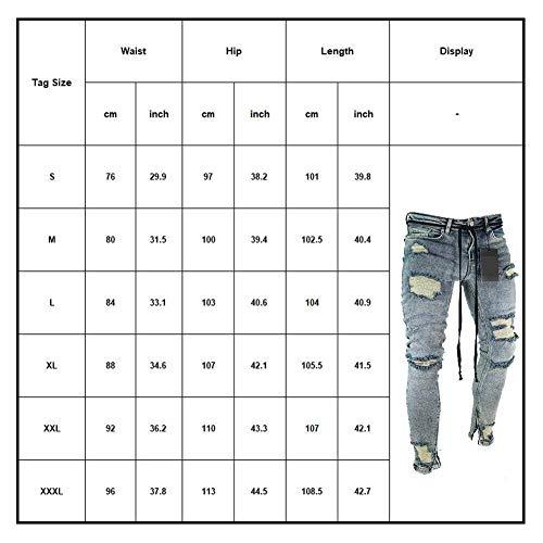 Denim Moda Elasticizzati Casual Retrò Skinny Torn Di Stile Jeans Nero In Holes Uomo Pantaloni Semplice Con 5SnPUqx6