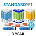 Express Water – 3 Year Reverse Osmosis System Replacement Filter Set – 23 Filters with 50 GPD RO Membrane, Carbon GAC, ACB, PAC Filters, Sediment SED Filters – 10 inch Size Water Filters