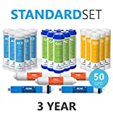 Express Water - 3 Year Reverse Osmosis System Replacement Filter Set - 23 Filters with 50 GPD RO Membrane, Carbon GAC, ACB, PAC Filters, Sediment SED Filters - 10 inch Size Water Filters
