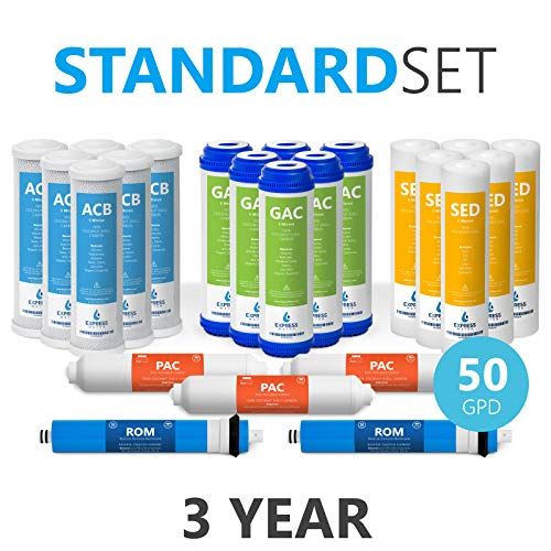 - Express Water - 3 Year Reverse Osmosis System Replacement Filter Set - 23 Filters with 50 GPD RO Membrane, Carbon GAC, ACB, PAC Filters, Sediment SED Filters - 10 inch Size Water Filters