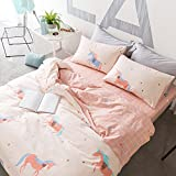 #7: HIGHBUY Unicorn Print Cotton Twin Duvet Cover Set Pink for Kids Girls Reversible Twin Bed Comforter Cover Bedding Sets 3 Pieces with Plaid Grid Pattern Reversible for Children Zipper Closure