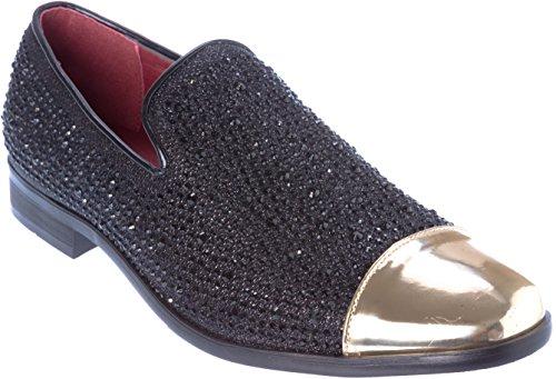 Shoes Picker sparko12 Mens Slip-On Fashion-Loafer Sparkling-Glitter Black Dress-Shoes Size 11
