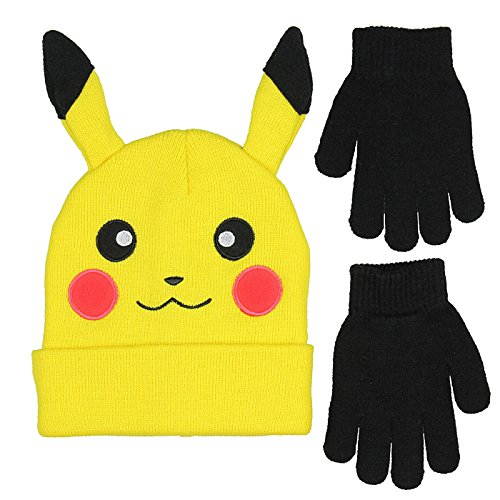 Bioworld Novelty Pokemon Pikachu Ear Youth Beanie With Black Mittens