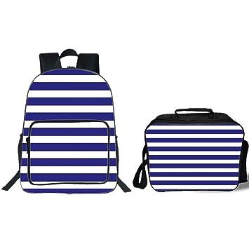 "4a4ebf72148aa4 19"" School Backpack & Lunch Bag Bundle,Striped,Nautical Marine Style Navy  Blue"