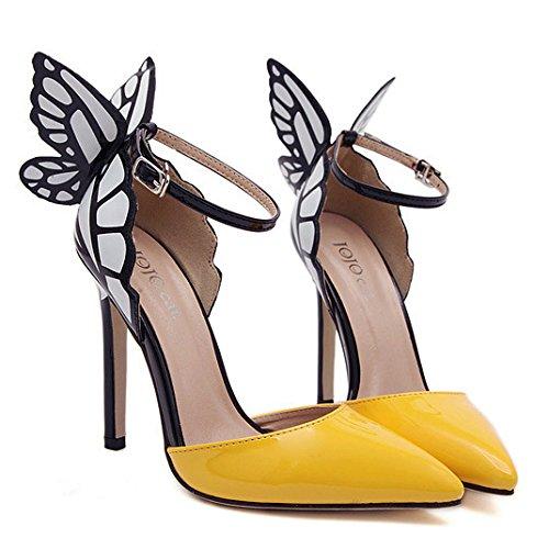 pointe femmes papillon Zpfme de et bride à hauts Chaussures talons pour cheville à avec jaune la qx74U6X