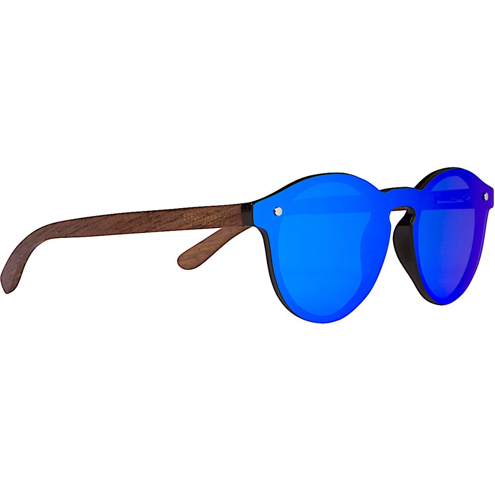 WOODIES Walnut Wood Foster Style Sunglasses with Flat Blue Mirror Polarized Lens