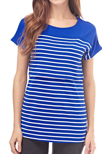 - Smallshow Women's Maternity Nursing Tops Breastfeeding T-Shirt X-Large Blue